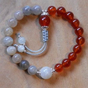 Wrist mala made from moonstone and carnelian