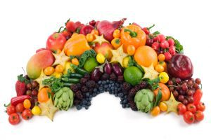 An edible rainbow of fruits and vegetables