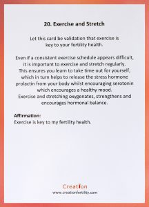 Exercise and Stretch Creation Fertility Card