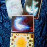 set of 4 lunar cards